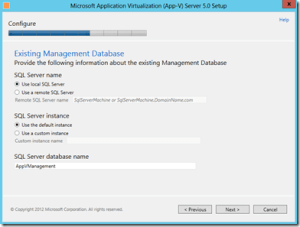 Enter Management Database Location