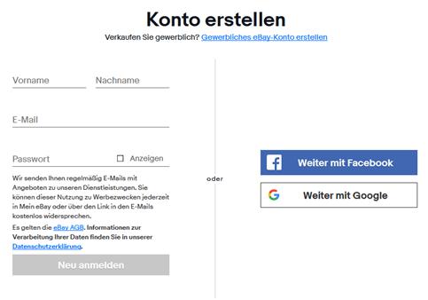s'enregistrer sur ebay deutschland