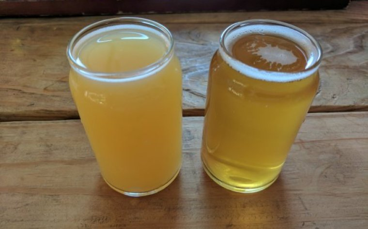 2 glasses of beer. but one with beer haze and one clear