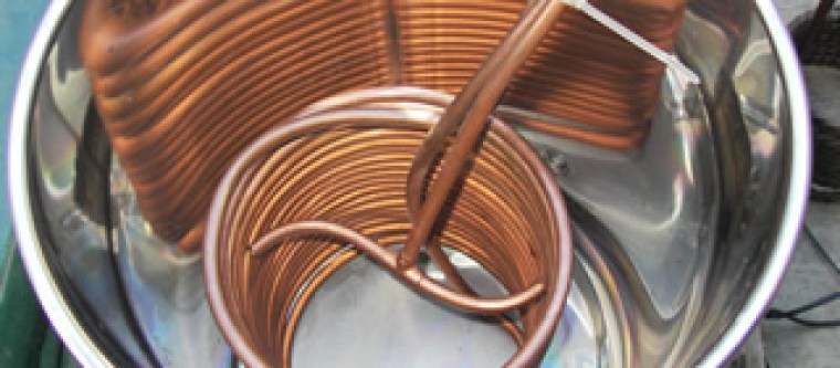 Beer chilling spiral inside the stainless steep pot