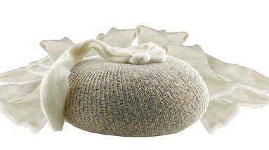 A muslin bag filled with grains on a white background
