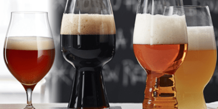 Four glasses of beer with different beer styles.
