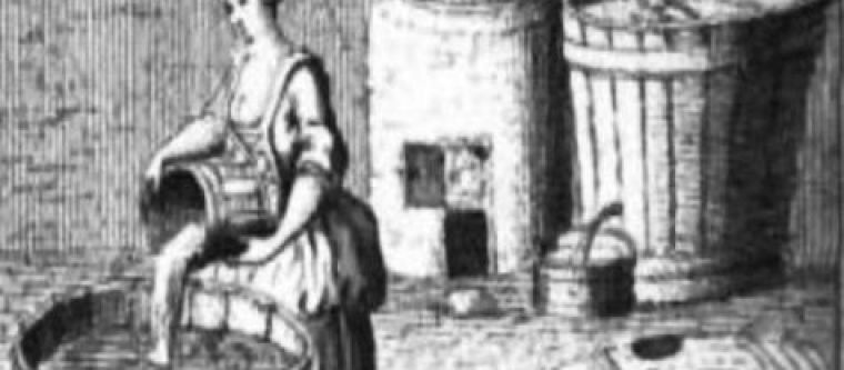 An old picture depicting a women brewing beer.