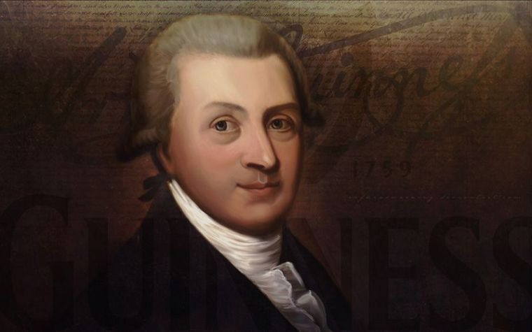 A portrait of Arthur Guinness the founder of Guinness company.
