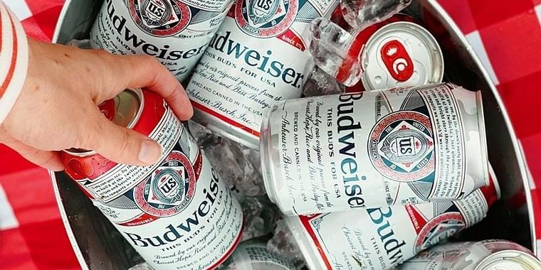 Cans of Budweiser beer.