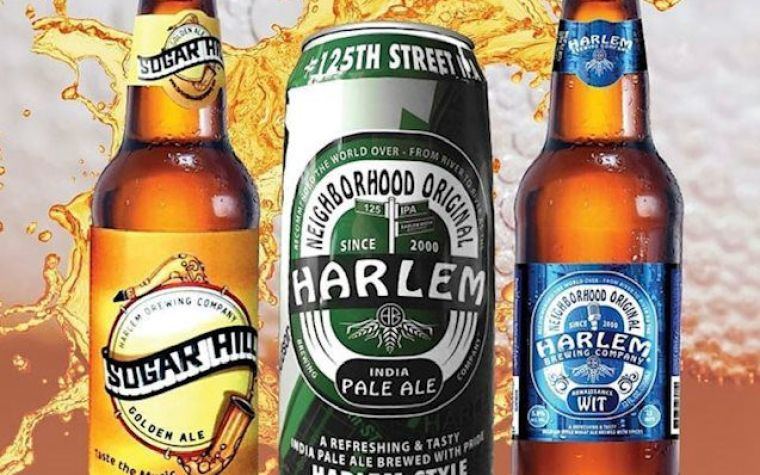 Two bottles and a can of beer from the Harlem Brewing Company.