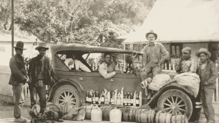 US Border Patrol catching alcohol smugglers on the Mexican border during prohibition.