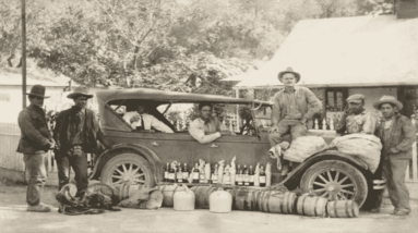 US Border Patrol agents catching alcohol smugglers on the Mexican border during prohibition