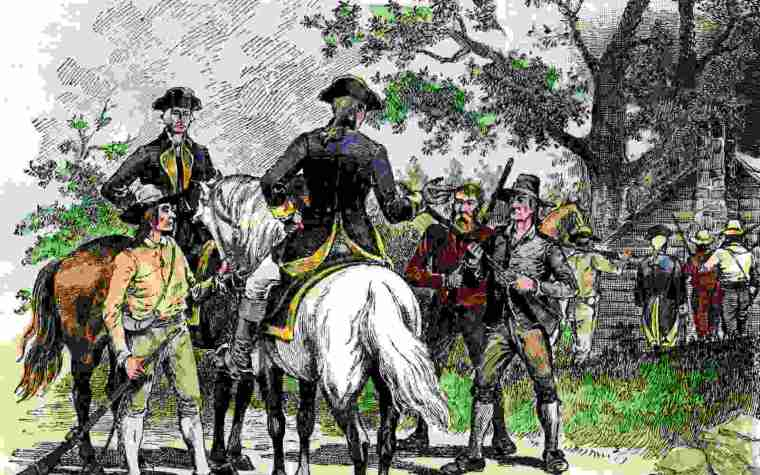 A drawing depicting two soldiers on horses talking to the protesters of the whiskey rebellion.