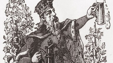 An image of St. Gambrinus holding a mug of beer.