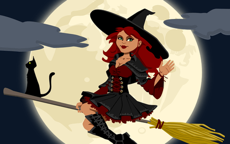 A cartoon image of a witch sitting on a broom with a pointed hat and a black cat in the full moon.