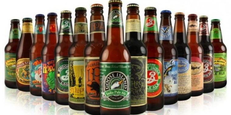 Bottles of 15 most popular craft beer in the US.