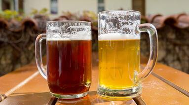 A mug of ale and a mug of lager beer on a wooden table.