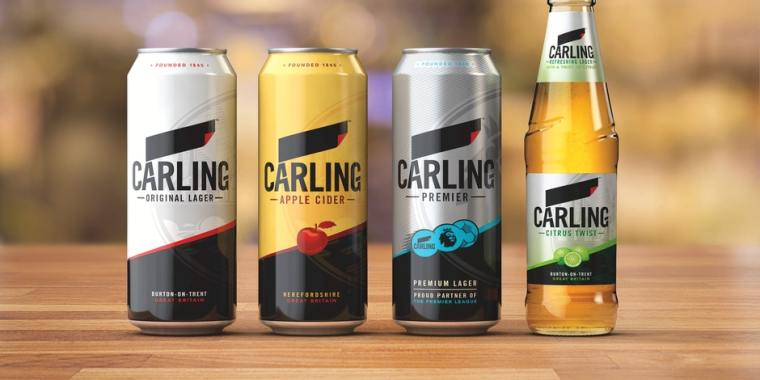 Four different types of Carling beer brand.