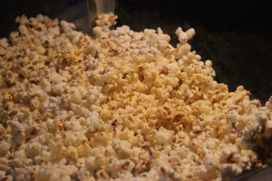 popcorn up close and beer