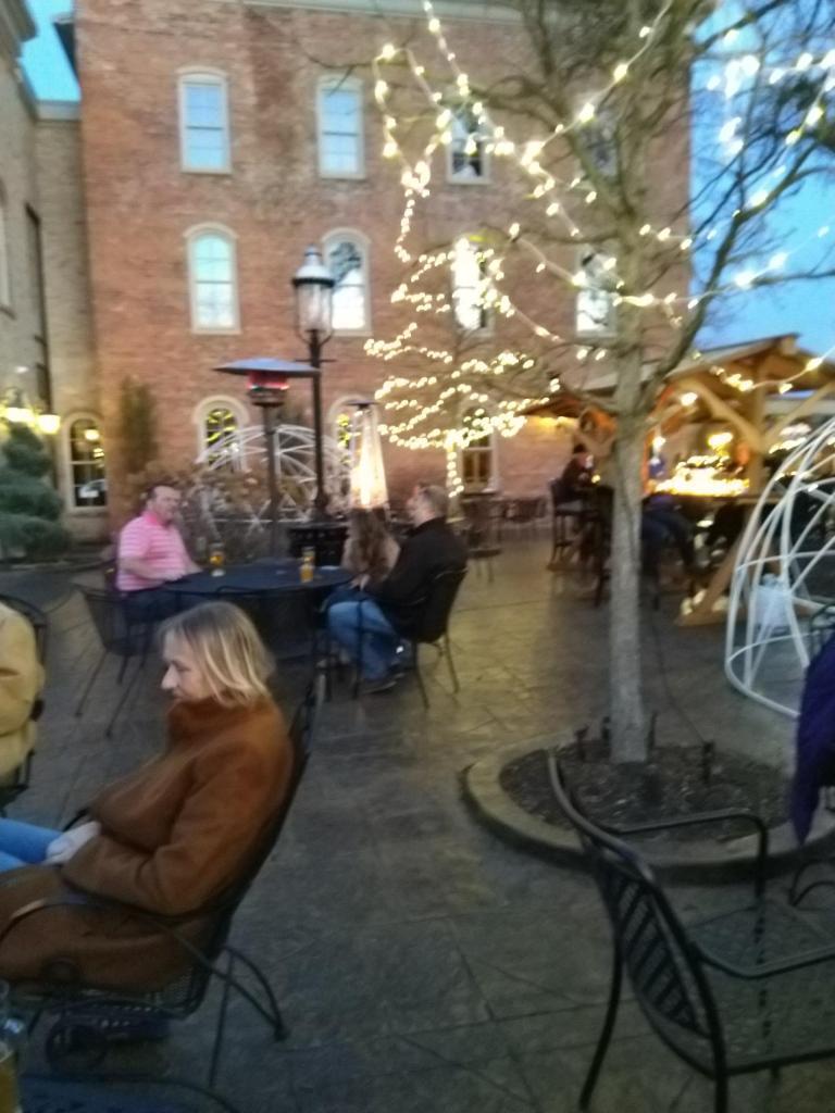 evening on the patio; biergarten; outdoor seating in Brighton MI; Brewery Becker