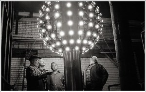 Historical picture of the Ball in NYC lit up.