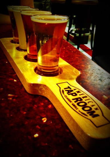 A flight of craft beers
