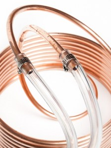 The hose fittings on the 25 foot copper coiled wort chiller from Adventures in Homebrewing