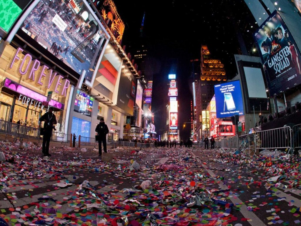 Confetti on the ground after New years Eve