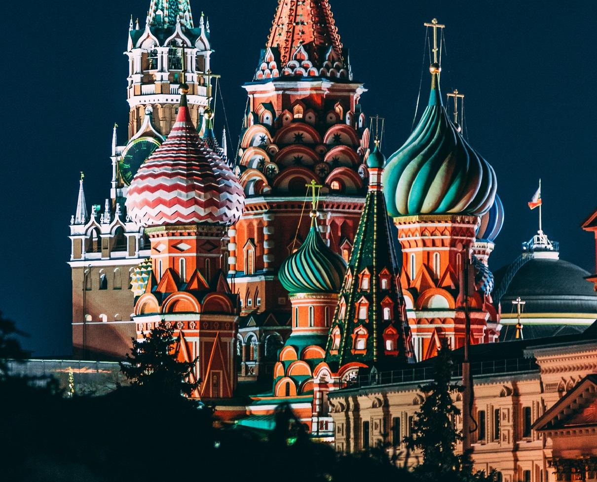 A colorful Kremlin at night.