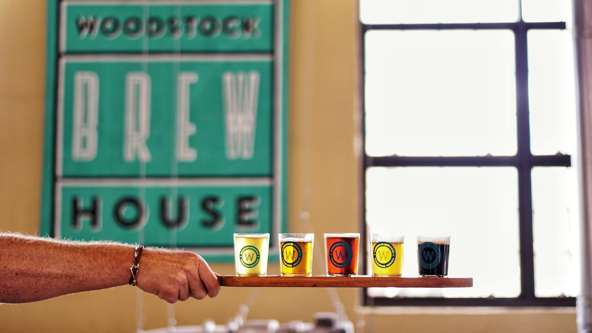 A flight of beers at Woodstock Brewhouse in Virginia