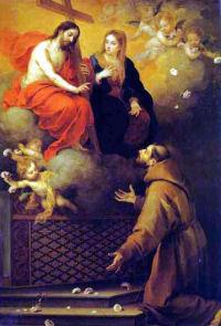Święty Franciszek przedobliczem Chrystusa iJego Matki