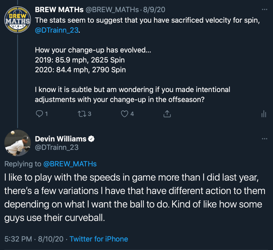 Devin Williams Twitter interaction with BREW MATHs