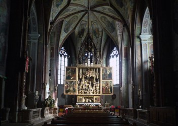 medieval church architecture nave christian renaissance altarpiece liturgy wolfgang parish michael influence saint middle pacher down sankt 1471 austria ages