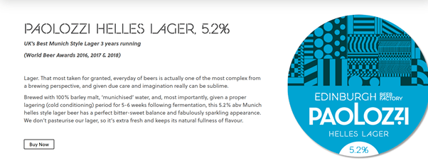 Paolozzi Lager biere lager de Edimbourg