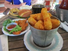 Our range of food. I liked the tater tots. Lori like her hot spicy burger.