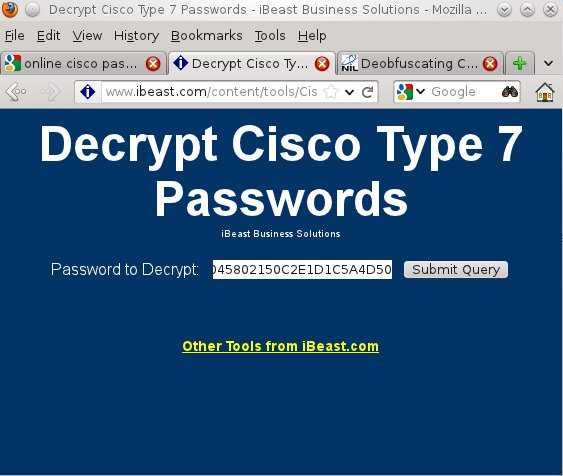 Decrypt cisco password level 5