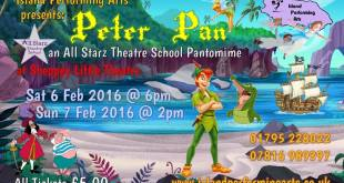 All Starz Theatre School pantomime, Peter Pan, at Sheppey Little Theatre on Sat 6 (6pm) and Sun 7 (2pm) February
