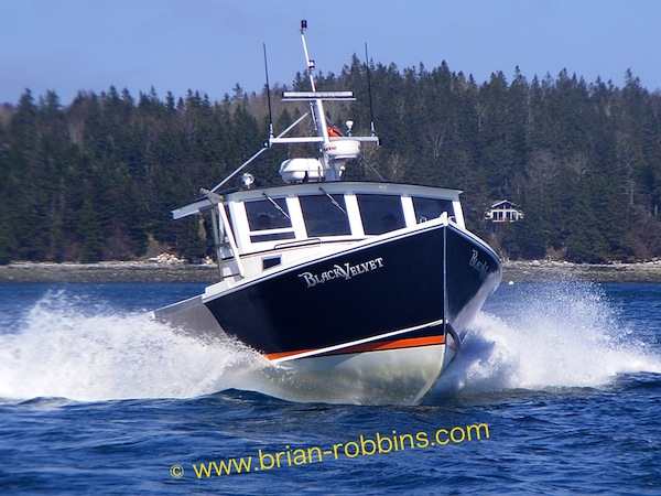 "Black Velvet, a modified Osmond 36 owned by Justin Sprague of Bass Harbor, ME.Hull was widened to 15'2"" (beam) by H&H Marine from the standard 13'3""."