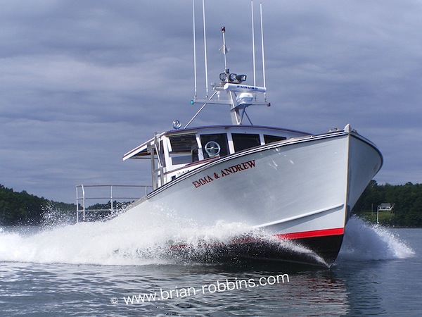 "John's Bay Boat Co. of South Bristol, ME launched the wooden 44'8""x15'3"" Emma & Andrew for Ben Weed of Deer Isle in 2013."