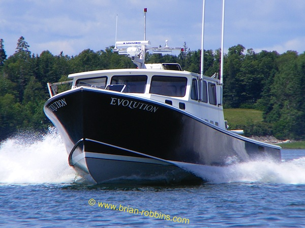 Evolution, a 42' Mussel Ridge owned by Eugene Harrington of Friendship, ME - finished by Simmons Boatworks. (2014)