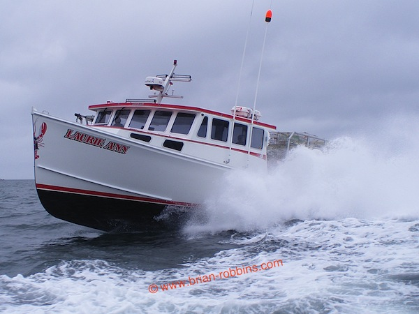 "Laurie Ann came out of the mold at H&H Marine in Steuben, ME as a wide-body Osmond 42 (42'x17'6""). Taylored Boats in Addison lengthened the hull by 4' and custom-finished the Laurie Ann for lobsterman Ryan Schoppee of Machiasport. (2015)"