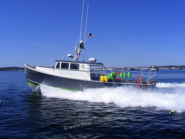 "Reverence is a Super 46 Wesmac finished by Clark Island Boat Works of St. George, ME. Wesmac Custom Boats of Surry built Reverence's 46'x17'1"" hull for Owls Head lobsterman Justin Philbrook."