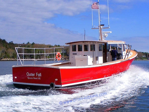 "The 47'x15'6"" Outer Fall is the largest new boat to roll down the ways at John's Bay Boat Co. in South Bristol, ME. The cedar-over-oak Outer Fall is owned by Spruce Head lobsterman Jim Tripp."