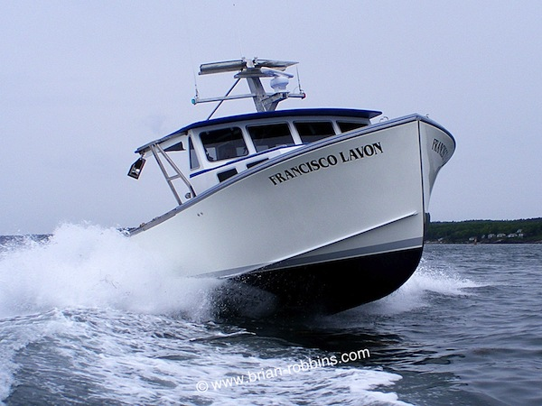 Francisco Lavon is a Mussel Ridge 42 owned by Vinalhaven, ME lobsterman John Bickford Jr. John's Marine Care of New Harbor custom-finished Francisco Lavon, starting with a hull and top built by Hutchinson Composites of Cushing. (2015)