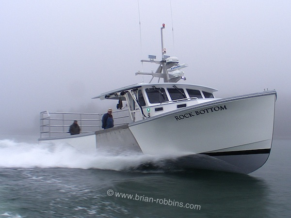 First brand-new boat out of the doors at Stonington, ME's Oceanville Boatworks was the Mussel Ridge 46 Rock Bottom for local lobsterman Richard Larrabee Jr.  Hutchinson Composites of Cushing, ME built Rock Bottom's 46'x15' hull and molded top.  (2016)