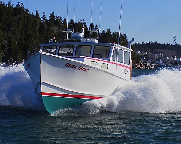 [em]Anna Mary[/em] is an RP 40 owned by lobsterman David Sullivan of Kittery, ME.  RP Boat Shop in Steuben laid up the Willis Beal-designed hull in 2004; Little River Boat Shop down in Cutler did the custom finish work.  (2016)