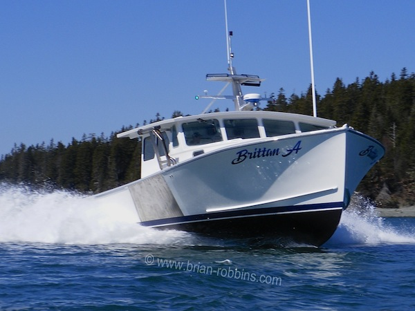 "Britton A is a Calvin Beal 44 owned by lobsterman Michael Porter of Cutler, ME.  SW Boatworks in Lamoine built the 44'x17'6"" hull and top; Light's Fiberglass of Steuben did the finish work.  (2016)"