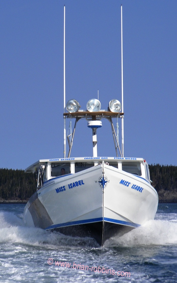 "Cutler, ME lobsterman Jeremy Cates' Miss Isabel is a 48'x18'4"" Dixon.  Dixon's Marine Group in Lower Woods Harbour, Nova Scotia built the 48-footer's hull and top; Little River Boat Shop in Cutler did the custom finish work.  (2016)"