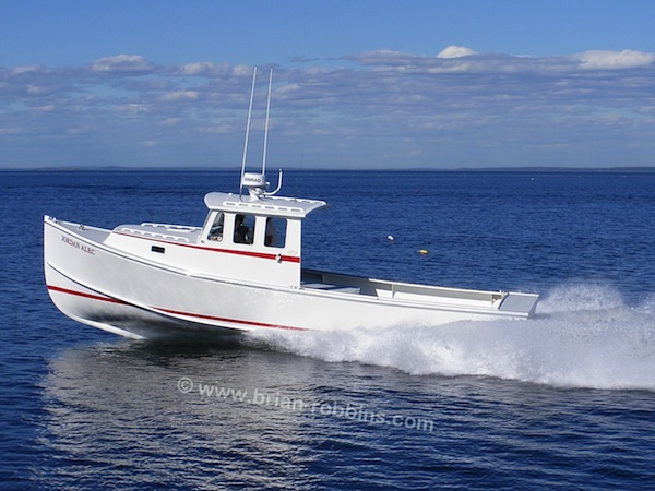 Jordan Alec is a 33' Crowley Beal owned by Vinalhaven,ME lobsterman Chris Radley.  Sargent's Custom Boats of Milbridge built the 33'x12' hull and molded top; Johnson's Boatyard out on Long Island, ME did the finish work.  (2016)