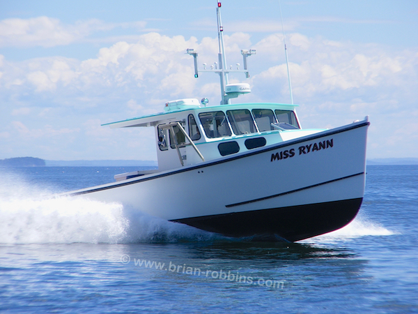 "H&H Marine, Inc. in Steuben, ME built the 42' Miss Ryan for lobsterman Dennis Warren of Vinalhaven.  With H&H offering widths up to 17'6"" on their Osmond 42 model, there was a darn good reason why Dennis spec'd a 16' beam for Miss Ryann: the width of the local Travelift.  She'll just fit,"" he says.  (2016)"