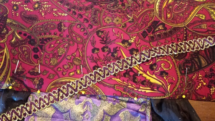 The gold and purple velvet cord looks sumptuous against the other fabrics.