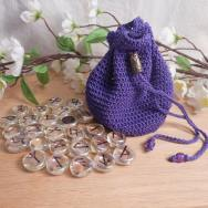 Rune Bag Purple Crocheted Elder Futhark with Faceted Beads Clear Runestones Talisman Bag