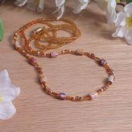 Necklace Amber Gold Stone Bohemian String