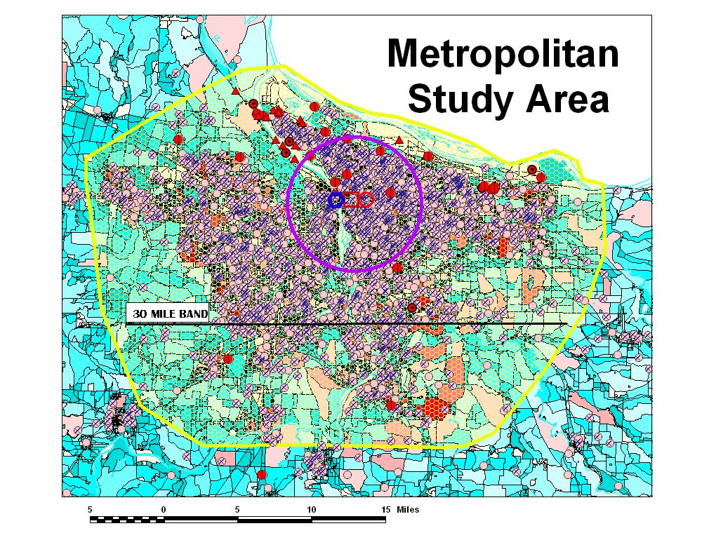 Defining the metropolitan study area - the use of a 30 mile band